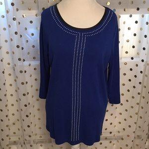 Rafaella 2X Blue Studded Faux Leather Trim Shirt
